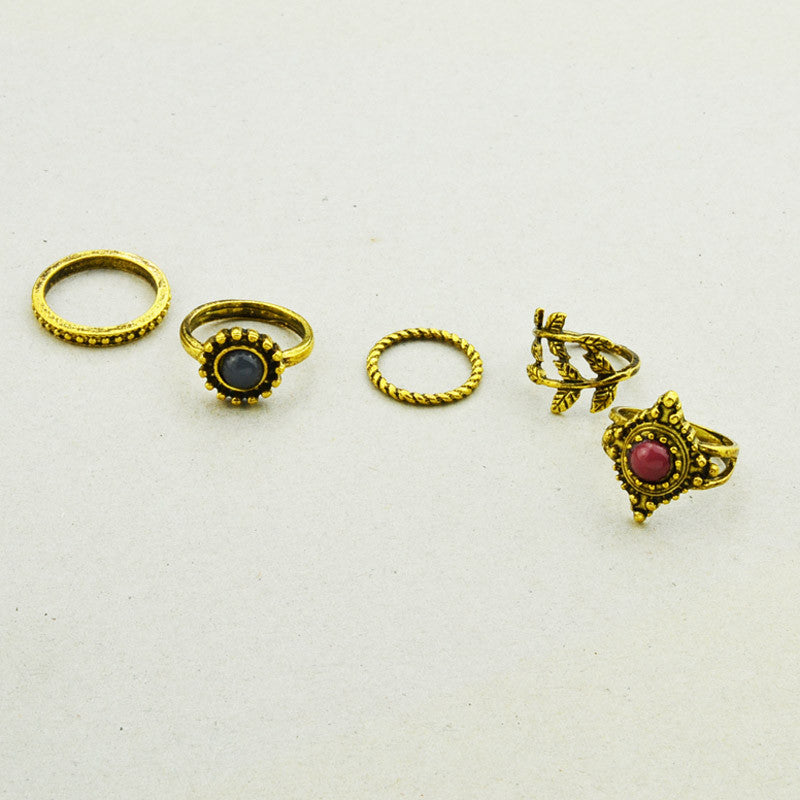 1lot=5pieces New fashion jewelry vintage gold plated leaf finger ring set nice gift R4071
