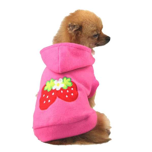 Lovely Pet Puppy Dog Strawberry Hoodie Apparel Warm Coat Jacket Clothes Outfit