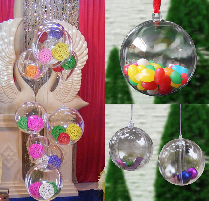 10PCS Christmas Tree Decor Ornament 5CM Ball Type Box Transparent Plastic Craft Christmas Gift Boxes transparent plastic ball