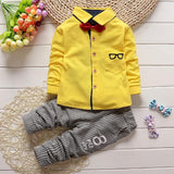 2 Pieces Glasses Bow Tie T-shirts + Pants Cotton Suit