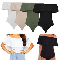 01. Off Shoulder Backless  Women Bodysuit Crop Top