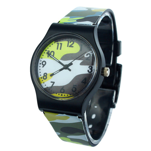 Hot Kids Boys Camouflage Wrist Watches Children Girls Silicone Band Strap Quartz wrist watches Good-looking AU 9
