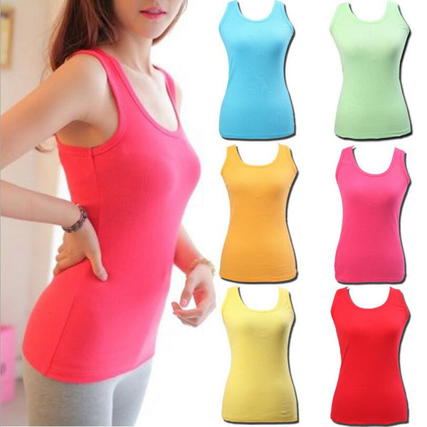 2015 Hot sale ! New Ladies Multicolor  Sleeveless Bodycon Temperament Cotton Tank Top Women Vest Tops
