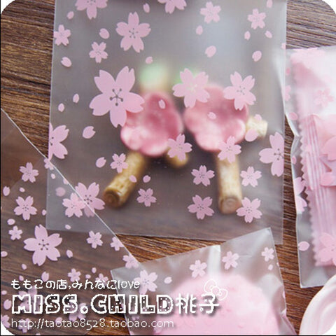 100pcs Pink Transparent Cherry Blossoms OPP Wedding Candy Bag Cookie Biscuits Cake Baking Bag Christmas Gift Packaging Bag BZ004