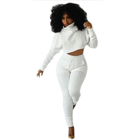 659a2e986443 2015 New Style Rompers Bodycon Womens Jumpsuit Turtlenecks Long Sleeve Two  pieces outfits White Overalls Crop