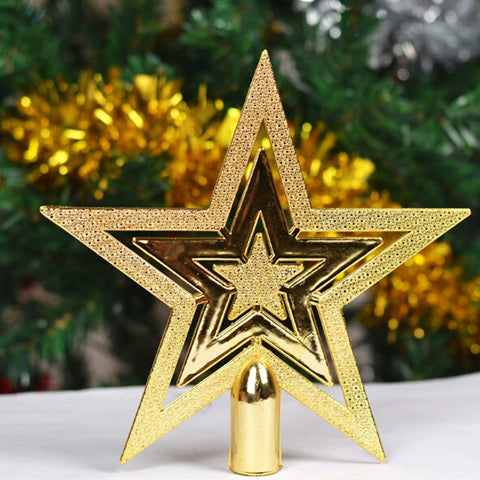 1 Pieces 9.5CM Golden Glitter Star Treetops of Christmas Tree Decoration Topper Ornaments Xmas Decorations XMas21