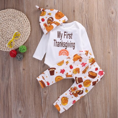 d1f4bfe092ea ... Newborn Baby Boys Girls Clothes Set Tops Romper Pants Leggings Hat  Clothing Feather Autumn Outfits 3PCS