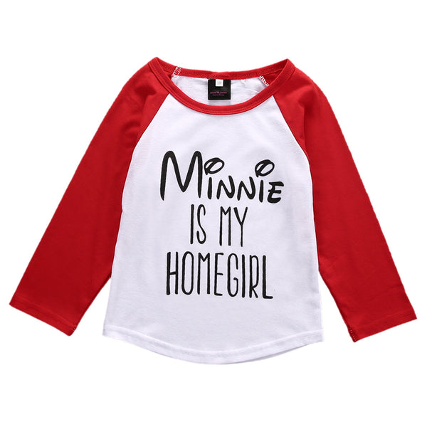 Lovely Letter Print T-Shirt Toddler Long Sleeve tops Kids Baby Girls Boys Cotton Long Sleeve T-shirt Tops Clothes 1-6Y