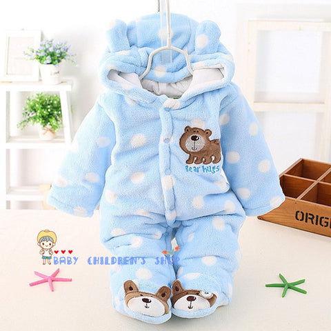 39f4626a8 Newborn Baby Girls Clothing Coral Fleece Winter Boy Rompers Cartoon Infant  Clothes Meninas Bear Down Snowsuit