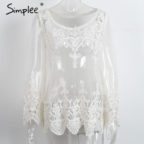 2c551139355ad2 Simplee Elagant sheer white lace blouse shirt Autumn mesh floral women –  Honeybee Line