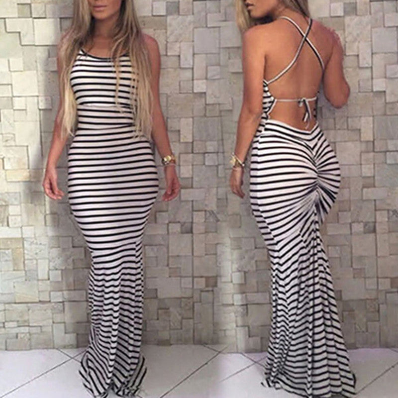 2016 Hot Summer Style Striped Printed Backless Bandage Bodycon Club Party  Dress Sexy Sleeveless O Neck Beach Maxi Long Dress