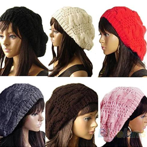 2013 New Fashion Women's Lady Beret Braided Baggy Beanie Crochet Warm Winter Hat Ski Cap Wool Knitted Wholesale 01V7 3C5H