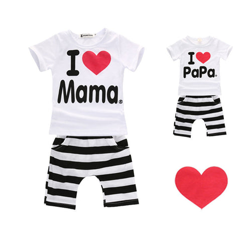 Striped Casual Love 2pcs Infan Outfits Set