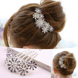 Beautiful Crystal Rhinestone Decorate Petal Tuck Hair Comb Flower Pin Hair Clip - Honeybee Line - 1