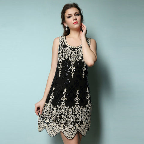 Embroidery Floral Short Mini Dresses Black - Honeybee Line