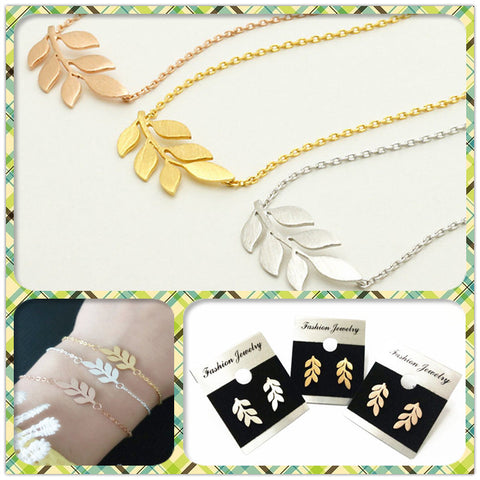 Leaf Branch Charm Bracelet Earrings And Necklace Women Set 18K Gold Plated - Honeybee Line