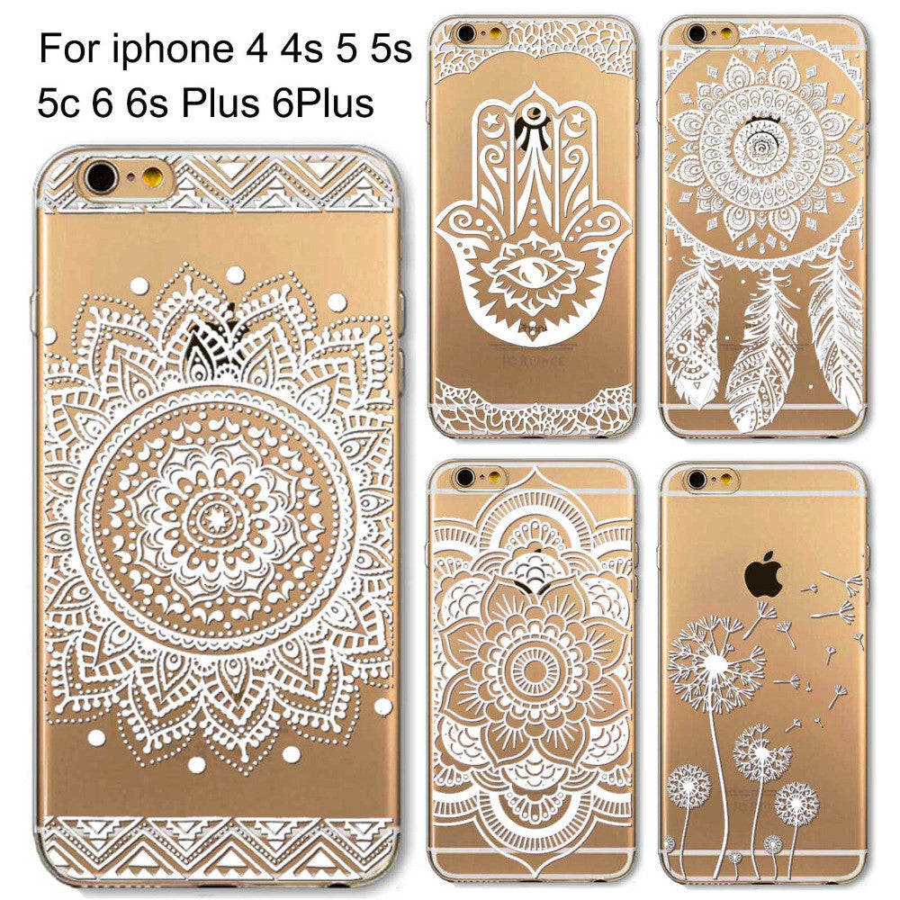 Phone Cases for Apple iPhone 4 4S 5 5S SE 5C 6 6S 6Plus 6s Plus HENNA DREAM CATCHER Ethnic Tribal TPU Silicon Covers Capa Back - Honeybee Line - 1