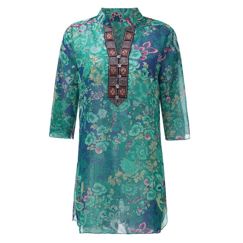 Summer Style Women Vintage Floral Print Blouse Dress Sexy Diamonds V neck 3/4 Sleeve See Through Loose Chiffon Shirt  Plus Size - Honeybee Line - 2