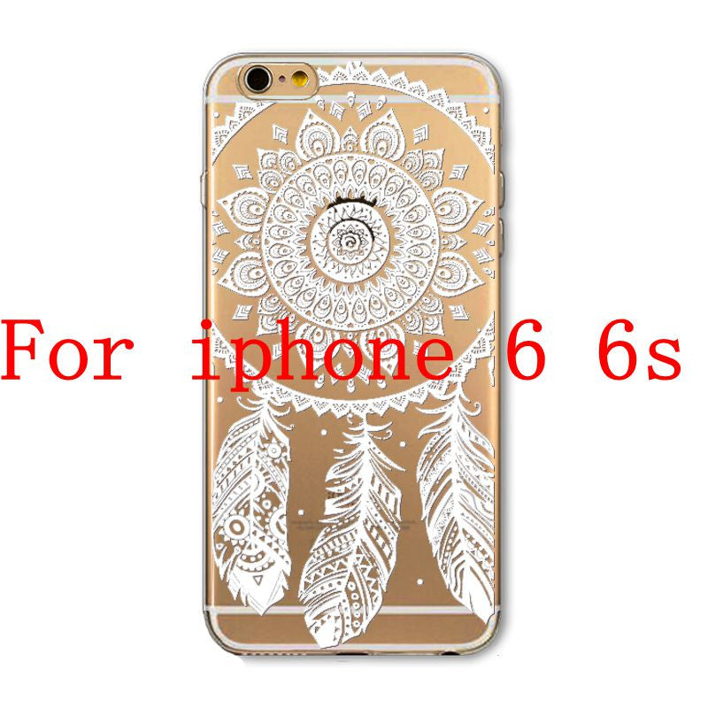 Phone Cases for Apple iPhone 4 4S 5 5S SE 5C 6 6S 6Plus 6s Plus HENNA DREAM CATCHER Ethnic Tribal TPU Silicon Covers Capa Back - Honeybee Line - 19