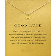 Good Luck Elephant 18k Gold Dipped Pendant Necklace with Card - Honeybee Line