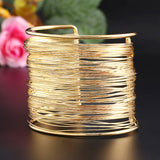 Gold Plated Vintage Bangles  Multilayer  Bracelet - Honeybee Line - 3