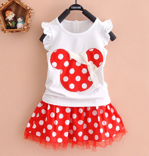 Summer girls clothing set 2pcs suits Baby Kids clothes Sleeveless Tops + skirt Children Outfits Girl dress for age 0-4Years - Honeybee Line - 1