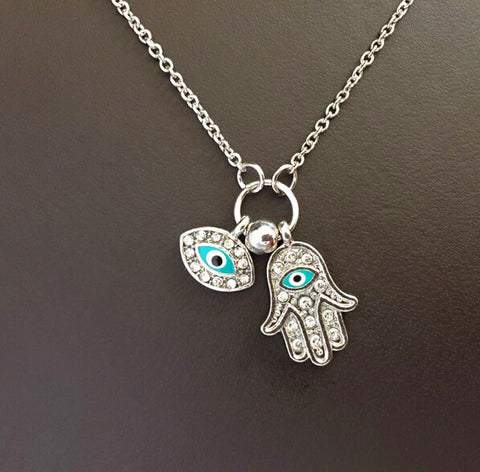 necklace high quality hamsa hand and turkey evil eye charm necklace women fashion accessories jewelry - Honeybee Line - 1