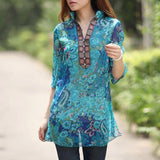 Summer Style Women Vintage Floral Print Blouse Dress Sexy Diamonds V neck 3/4 Sleeve See Through Loose Chiffon Shirt  Plus Size - Honeybee Line - 1