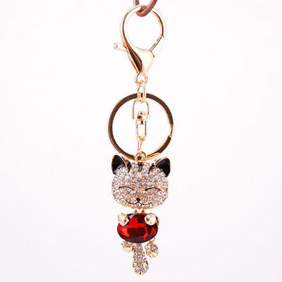 Crystal Rhinestone Metal Cat Key-chain Key Ring Hangbag Charms - Honeybee Line - 2