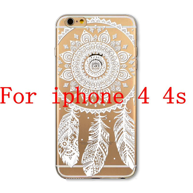 Phone Cases for Apple iPhone 4 4S 5 5S SE 5C 6 6S 6Plus 6s Plus HENNA DREAM CATCHER Ethnic Tribal TPU Silicon Covers Capa Back - Honeybee Line - 11