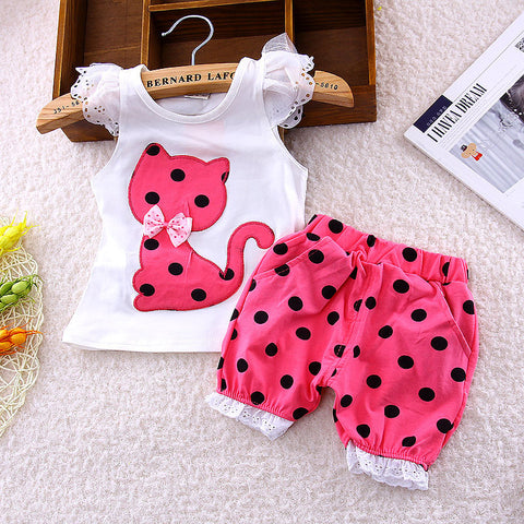 Europe Baby girls bow cat shirt + shorts suit 2pcs  kids polka dot - Honeybee Line