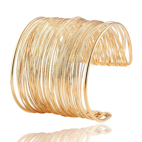 Gold Plated Vintage Bangles  Multilayer  Bracelet - Honeybee Line - 4
