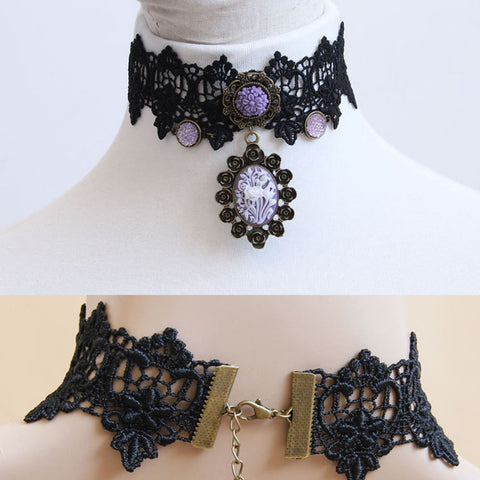 Women's Vintage Gothic Lolita Punk Crystal Choker Necklace Black Victorian Style Resin Tassel Vampire Steampunk Torques Jewelry - Honeybee Line