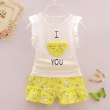 Baby Girls Clothes Set Children Vest +Flower Pants Set Kids Clothes I love you Design 2016 Summer Clothing  High Quality - Honeybee Line - 1