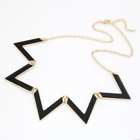 Trendy Classical Women Metal Statement Pendant Necklace Geometric Exaggerated Accessories Jewelry - Honeybee Line - 4