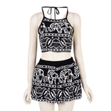 Women Two Pieces Backless Spaghetti Strap Halter Elephant Animal Geometric Aztec Prints Crop Top with High Waist Shorts New - Honeybee Line - 1