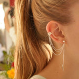 Simple Silver Pleated Punk Style Ear Cuff - Honeybee Line - 1