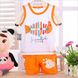 Casual fish print kids clothes sets -Boy - Honeybee Line - 3