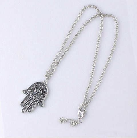 New Womens Good Protection Bib Statement Silver Hand Hamsa Choker Evil Eye Pendant Chain Necklace Gift - Honeybee Line - 2