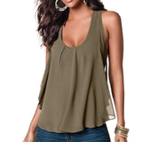 Women's Summer Chiffon Sleeveless Blouse - Honeybee Line - 4