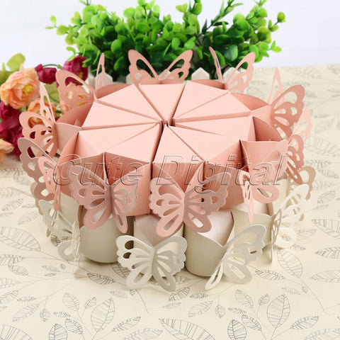 10pcs/pack Pink/White Butterfly Candy Bomboniere Boxes Baby Shower Christening Birthday Bridal Wedding Favors Creative Boxes - Honeybee Line - 1