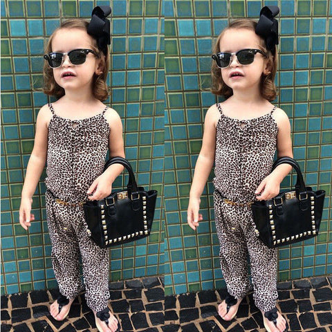 With belt 2015 girls Rompers clothes kids Girls harness leopard piece clothing set kids summer Jumpsuit clothes - Honeybee Line