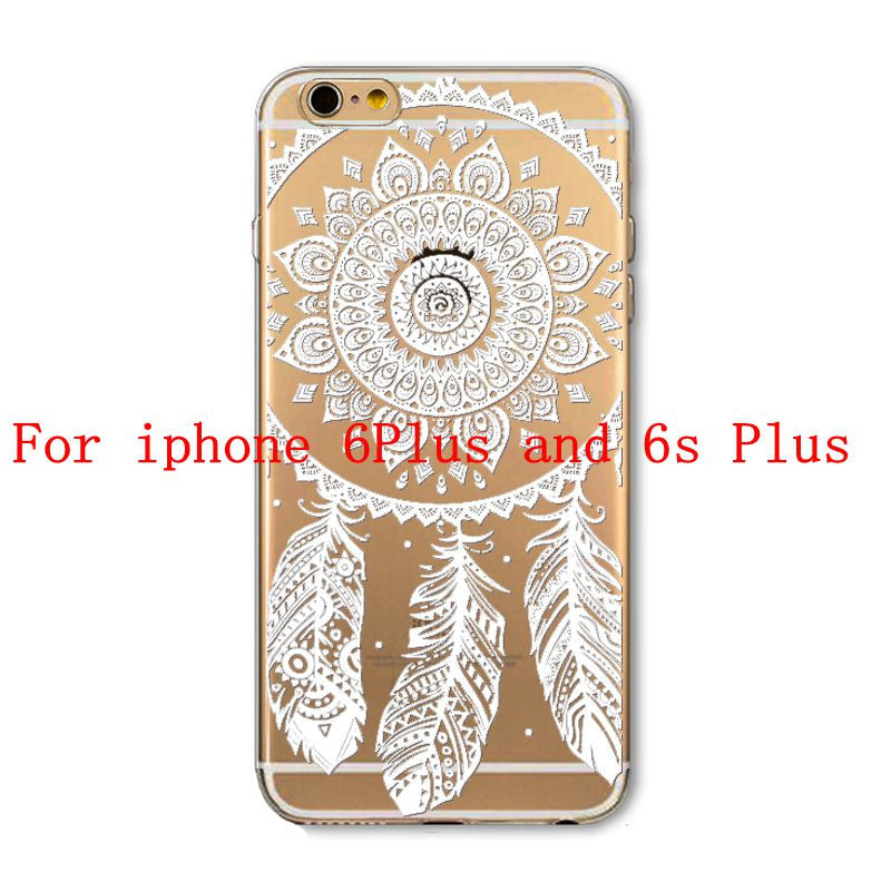 Phone Cases for Apple iPhone 4 4S 5 5S SE 5C 6 6S 6Plus 6s Plus HENNA DREAM CATCHER Ethnic Tribal TPU Silicon Covers Capa Back - Honeybee Line - 24