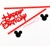 Mickey Mouse Happy Birthday Letter Garland Cake Topper Bunting - Honeybee Line - 4