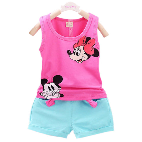 Casual Kid Girl Vest Set Short T-shirts+Pants 2pcs Tracksuit - Honeybee Line - 1