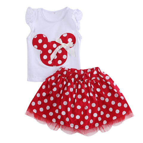 Summer girls clothing set 2pcs suits Baby Kids clothes Sleeveless Tops + skirt Children Outfits Girl dress for age 0-4Years - Honeybee Line - 3