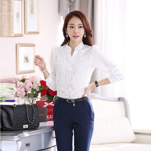 Chiffon blouse lace Embroidered white basic shirt - Honeybee Line