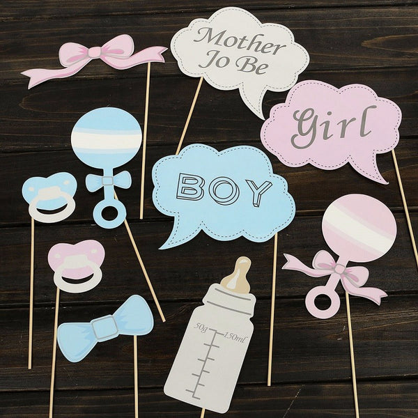 Hot 10Pcs Party Gifts Photo Booth Props DIY Bottle Baby Shower Boy Girl Birthday Enclosed Stick Frame Wedding Decoration - Honeybee Line
