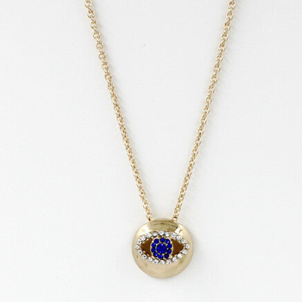 Rhinestone Blue Evil Eye The Hand of Fatima hamsa hand Short Turkish Style Necklaces Wholesale - Honeybee Line