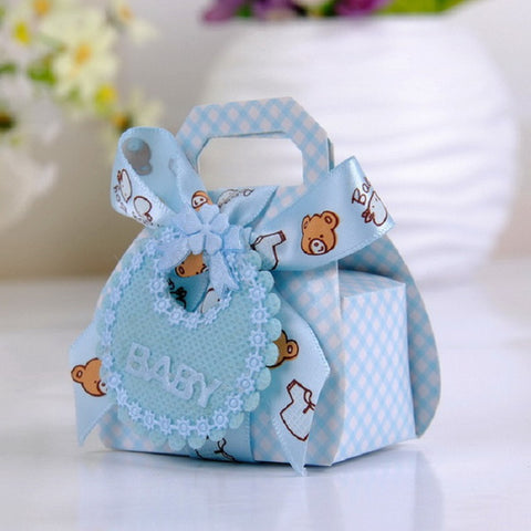 Bear Shape DIY Gift Christening Baby Shower Party Favor Boxes Paper Candy Box with Bib Tags & Ribbons12pcs - Honeybee Line - 1